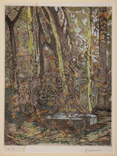 "Assicoop - Unipol Collection:Remo Zanerini (1923 -), ""In the wood"". Coloured lithograph."