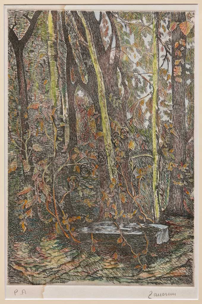 "Assicoop - Unipol Collection: Remo Zanerini, ""In the Wood"", Lithograph coloured with pastels."