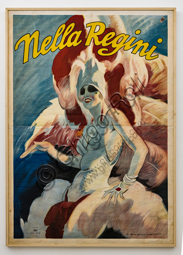 """""""Nella Regini in the stage dress with feathers and other accessories """", Illustration by Marcello Dudovich, 1920-5, chromolithography on paper."""
