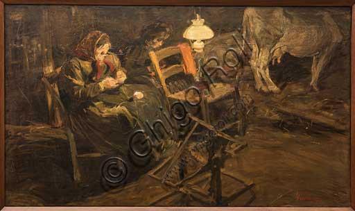 """Collezione Assicoop - Unipol, inv. n. 466, Giuseppe Graziosi (1879 - 1942), """"Nella stalla -1905""""; olio su tela, cm 143 X 85."""