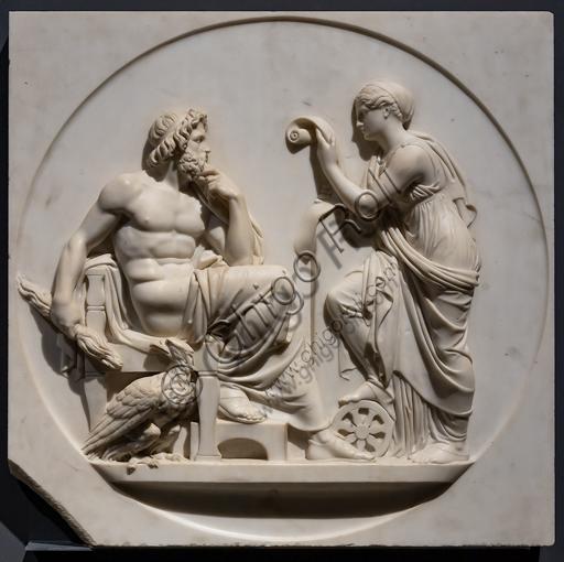 """""""Nemesi recita a Giove i fatti della storia umana"""", ante 1827, di Bertel Thorvaldsen (1770 - 1844), marmo."""