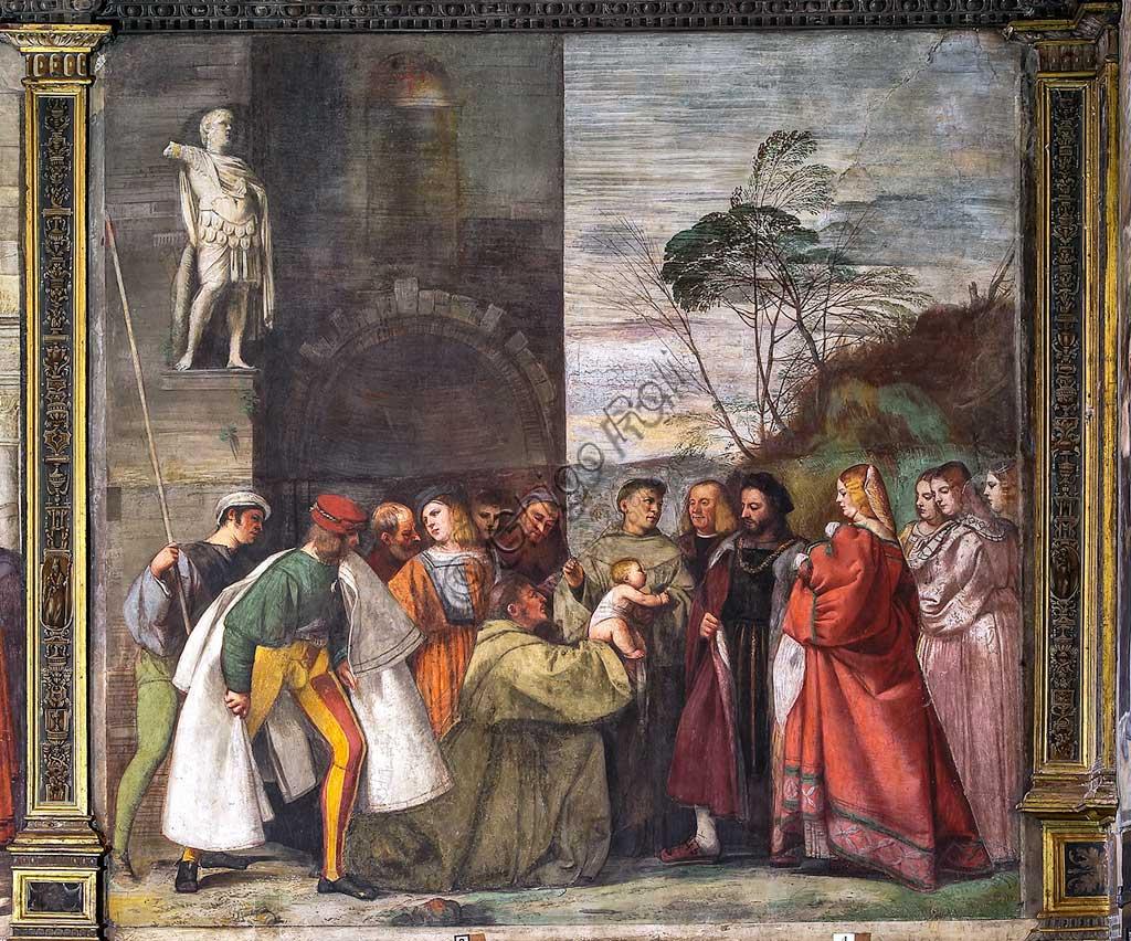 """Padova, Basilica di Sant'Antonio o del Santo, Scuola del Santo, Salone, parete nord: """"Il neonato proclama l'innocenza della madre"""", affresco di Tiziano Vecellio, 1511."""