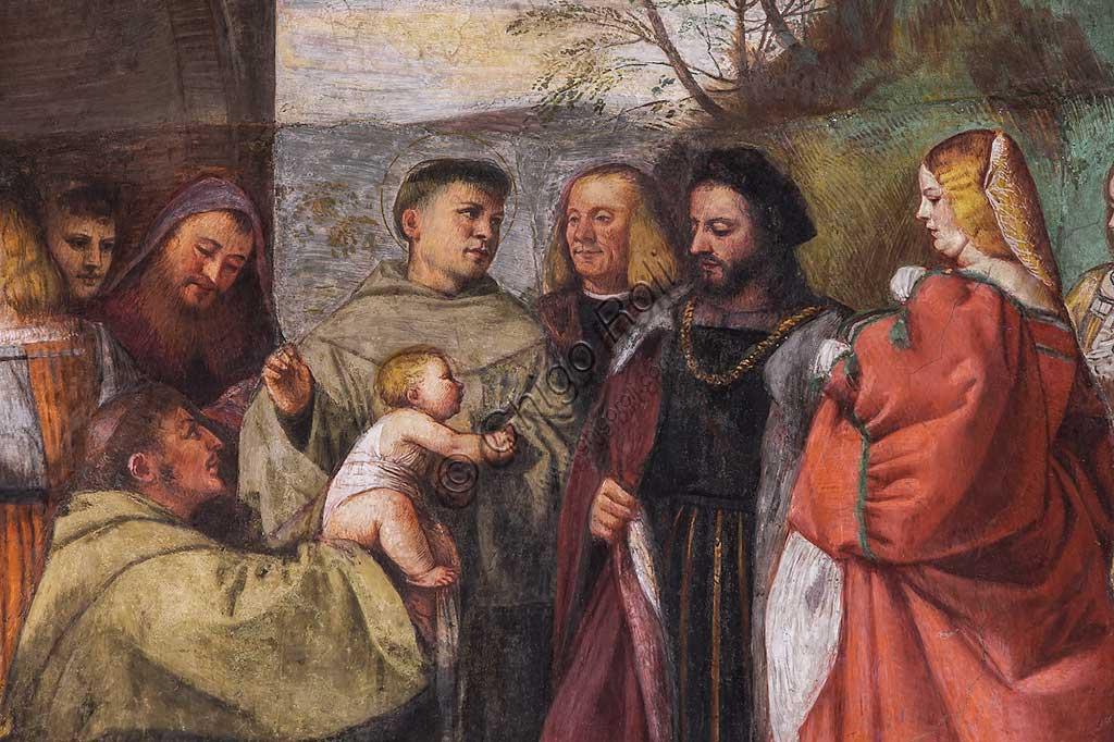 """Padova, Basilica di Sant'Antonio o del Santo, Scuola del Santo, Salone, parete nord:  particolare de """"Il neonato proclama l'innocenza della madre"""", affresco di Tiziano Vecellio, 1511."""