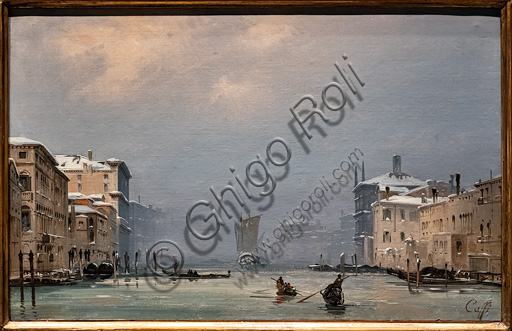 """Ippolito Caffi: """"Snow and Fog on the Grand Canal"""", oil painting, 1849."""