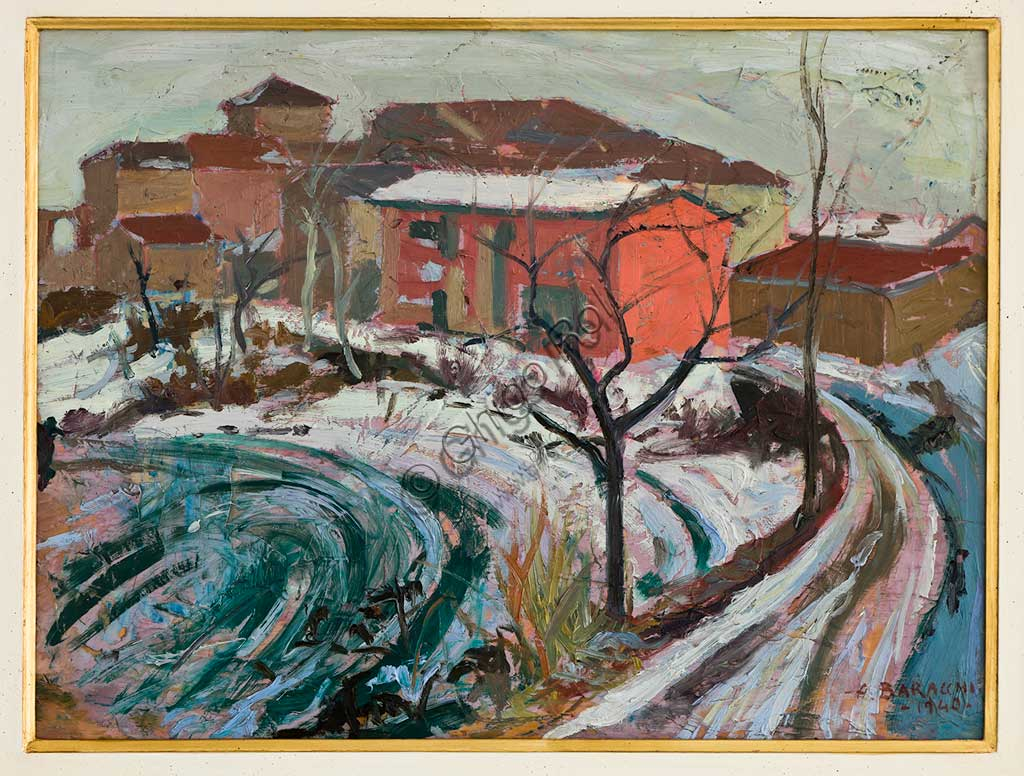 "Assicoop - Unipol Collection:  Augusto Baracchi (1878-1942), "" Snowfall in Carpi"", oil on cardboard."
