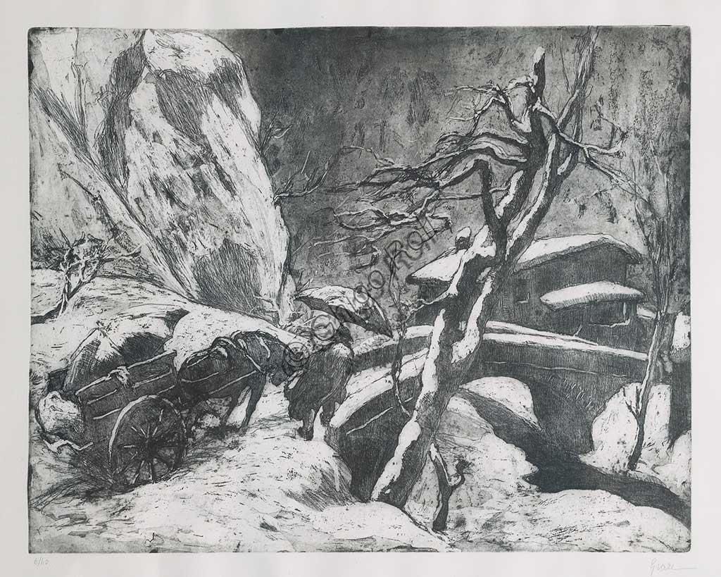 """Collezione Assicoop - Unipol: """"Nevicata in montagna"""", acquaforte e acquatinta su carta, lastra di Giuseppe Graziosi (1879 - 1942)."""