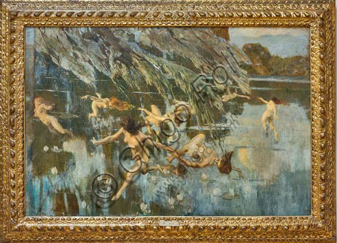 "Piacenza, Galleria Ricci Oddi: ""The nymphs"" (1911), oil painting by Ettore Tito (1859 - 1941)."