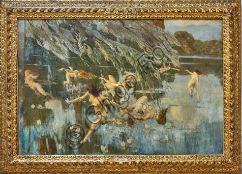 """Piacenza, Galleria Ricci Oddi:  """"Le ninfe"""" (1911), olio su tela di Ettore Tito (1859 - 1941)."""