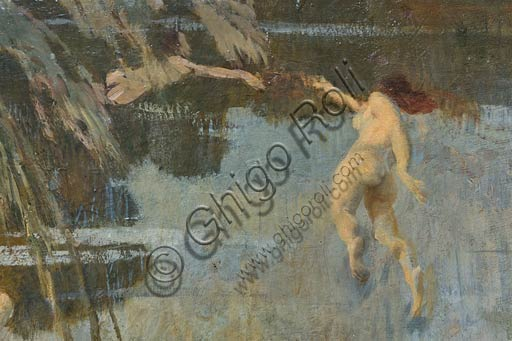 "Piacenza, Galleria Ricci Oddi: detail of ""The nymphs"" (1911), oil painting by Ettore Tito (1859 - 1941)."