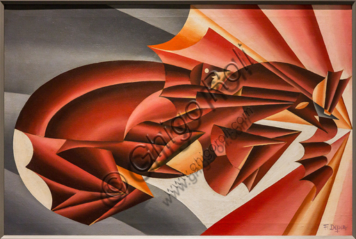 """Museo Novecento: """"Neigh in speed"""", 1932, by Fortunato Depero. Oil painting on canvas."""