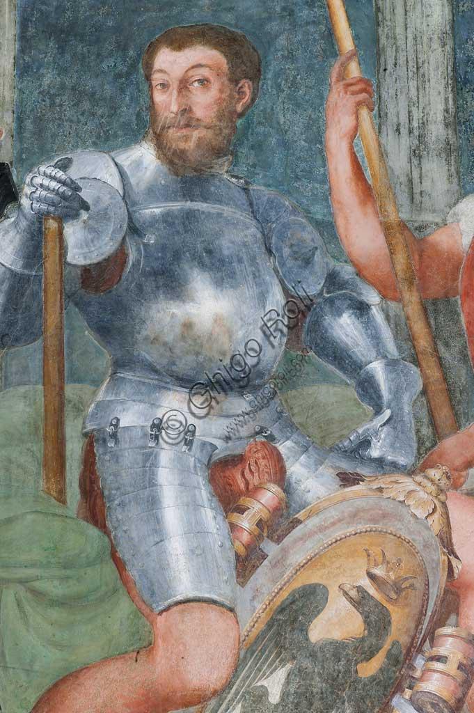 Genova, Villa del Principe (Palazzo di Andrea Doria), Loggia degli Eroi: antenati di Andrea Doria. Particolare di nobile con armatura e scudo. Affresco di Perin del Vaga (Pietro Bonaccorsi), 1529 - 1532.