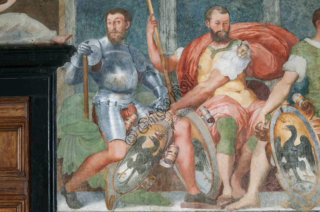 Genova, Villa del Principe (Palazzo di Andrea Doria), Loggia degli Eroi: antenati di Andrea Doria. Particolare di nobili con armatura e scudo. Affresco di Perin del Vaga (Pietro Bonaccorsi), 1529 - 1532.