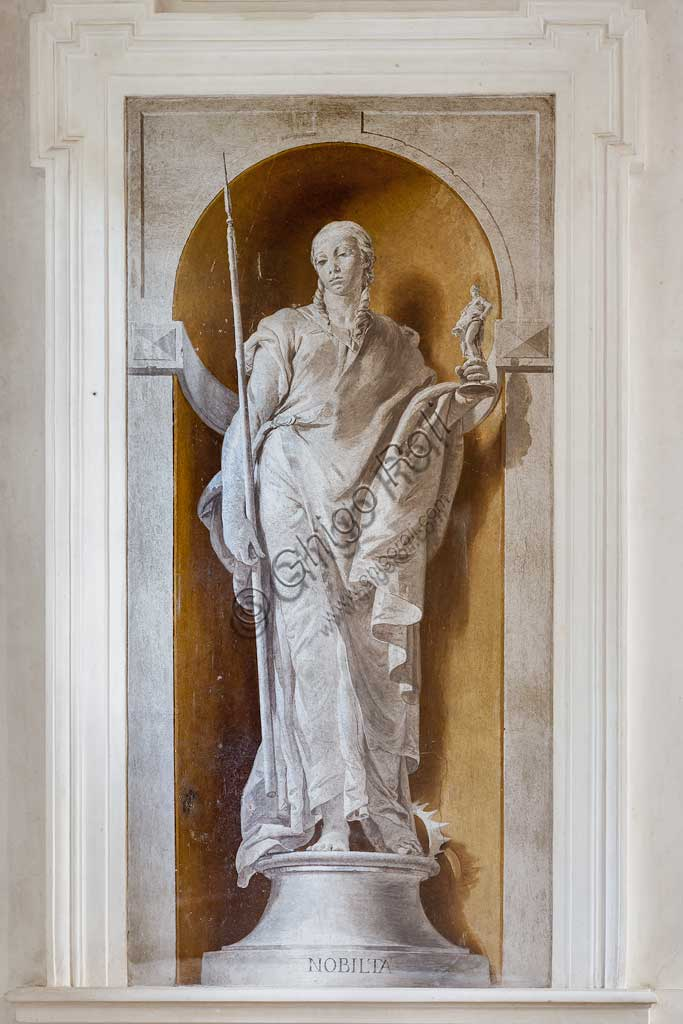 "Villa Loschi  Motterle (formerly Zileri e Dal Verme),the staircase: ""The Nobility"", i.e. staue of a woman holding a small statue of Minerva. A monochrome fresco by Giambattista Tiepolo (1734)."