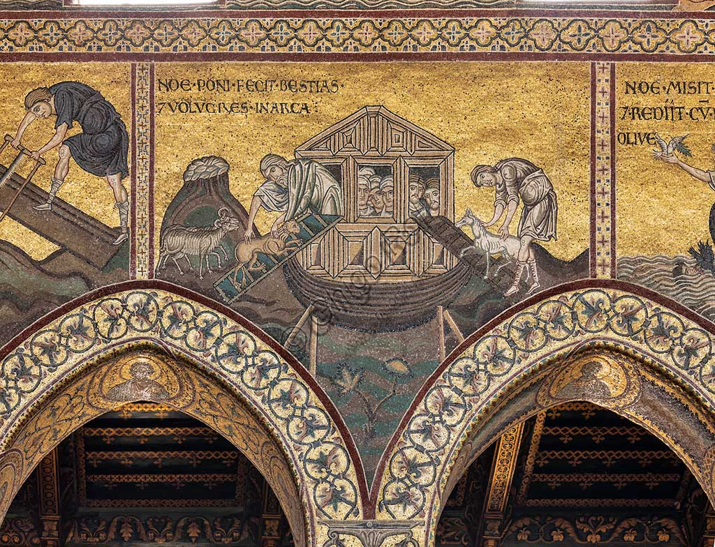 "Monreale, Duomo: ""Noah has the animals loaded onto the Ark"". Old Testament Cycle - The Great Flood, Byzantine mosaics, 12th - 13th centuries.Latin inscription: ""NOE PONI FECIT BESTIAS ET VOLUCRES IN ARCA""."