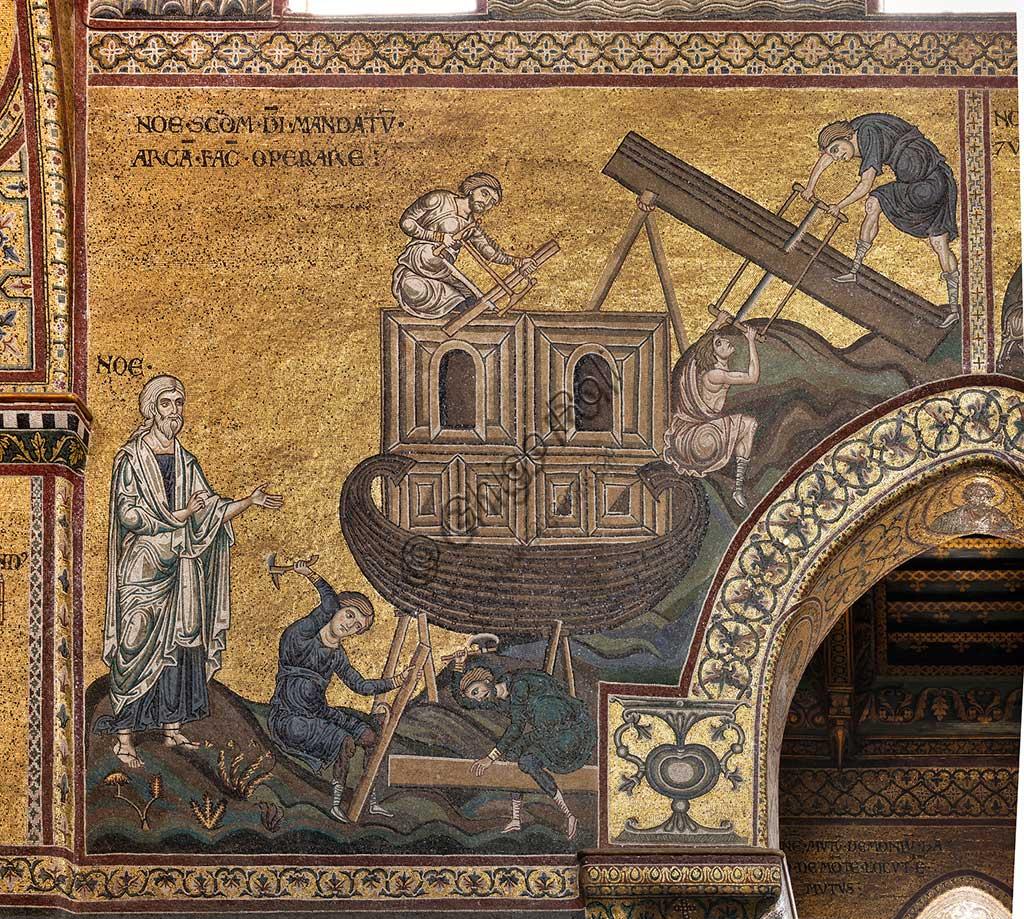 "Monreale, Duomo: ""Noah builds the Ark according to the mandate of God. Old Testament cycle - The Great Flood, Byzantine mosaic, XII - XIII century.Latin inscription: ""NOE SECUNDUM DEI MANDATUM ARCAM FACIT OPERARE"". """