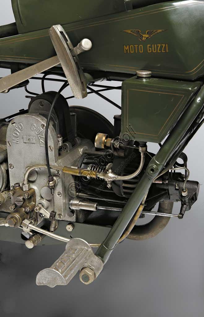 "Ancient Motorbike Moto Guzzi  ""Normale"". Engine."