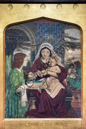 """""""Our Lady of Good Children"""",  (1847-61) by Ford Madox Brown (1821 - 93); watercolour  and golden coloured paint on paper."""