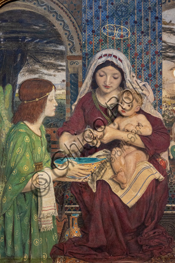 """""""Our Lady of Good Children"""",  (1847-61) by Ford Madox Brown (1821 - 93); watercolour  and golden coloured paint on paper. Detail."""
