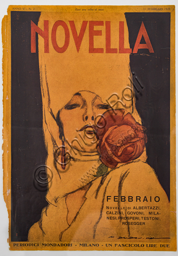 """""""Novella, n. 2, February 1, 1923"""", Illustration by Marcello Dudovich for the cover of the Italian magazine, 1923, letterpress print."""