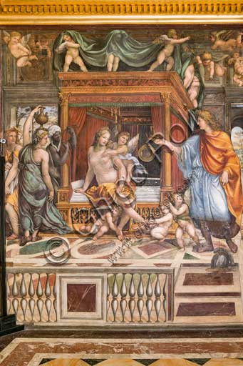 "Rome, Villa Farnesina, Alexander's Room (or The Chigi Wedding Room): ""The Wedding of Alexander the Great and Roxane"", fresco by Sodoma (Giovanni Antonio de' Bazzi), 1519. Detail."