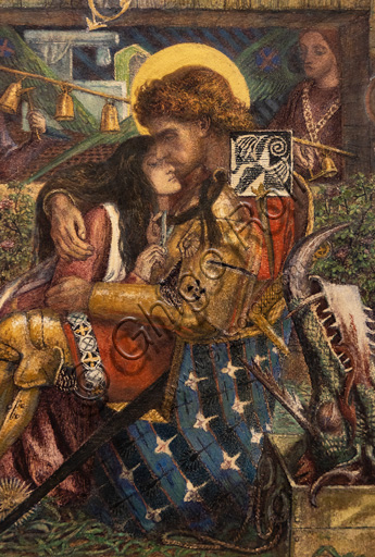 """The Wedding of St. George and Princess Sabra"", (1857) by Dante Gabriel Rossetti (1828-1882); watercolour on paper. Detail."
