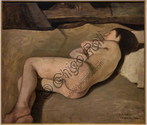 """Museo Novecento: """"Nuda (Studio per meriggio)"""", di Felice Casorati, 1922. Olio su cartone."""