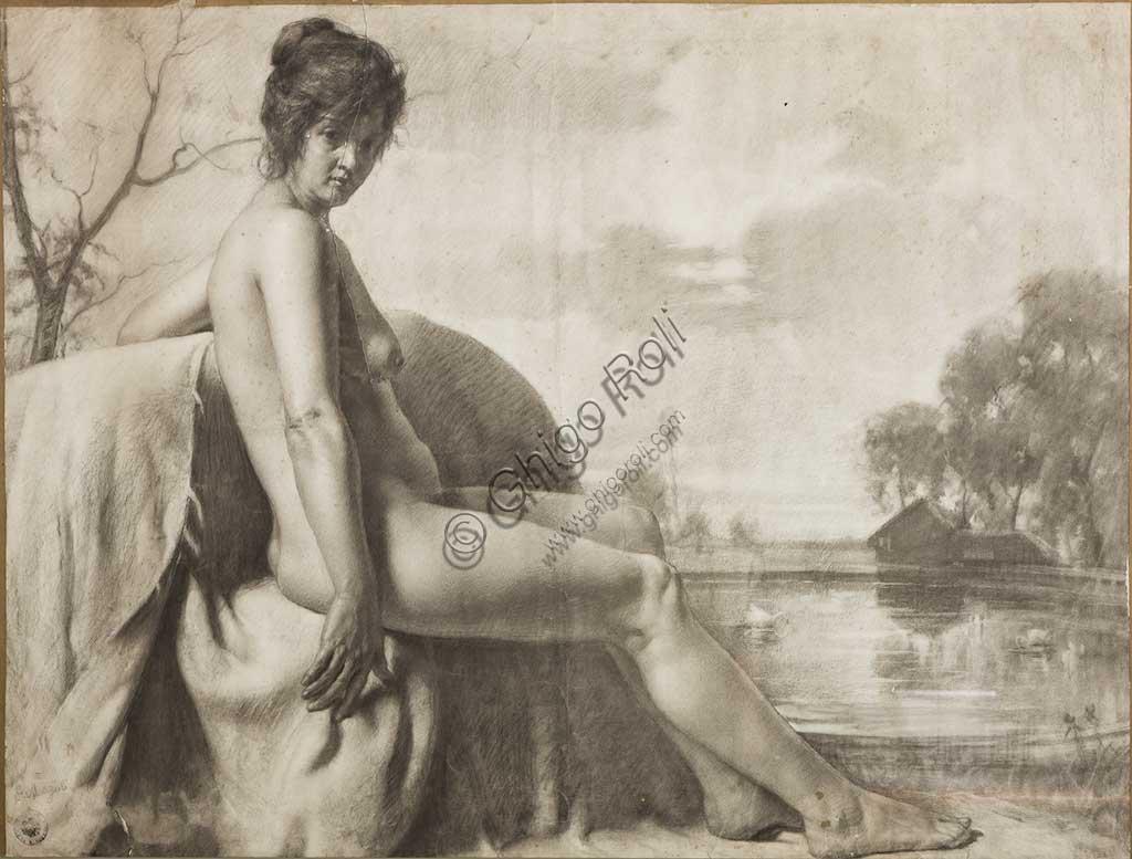 """Collezione Assicoop Unipol:Giovanni Muzzioli (1854 - 1894); """"Nudo di Donna""""; carboncino, cm. 81 x 107."""