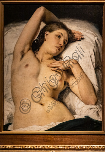 "Francesco Hayez: ""Nude of Woman (Resting Model)"", oil painting, 1850-60."