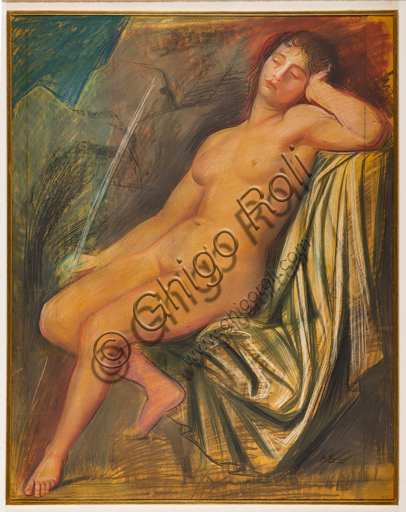 "Assicoop - Unipol Collection: Achille Funi (Ferrara,1890 - 1972), ""Nude of a young woman"", 1930, mixed media on cardboard."