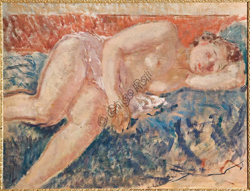 "Assicoop - Unipol Collection:    Giovanni Forghieri (1898 - 1944), ""Lying Nude Woman"". Oil on cardboard, cm 68,5 x 90."