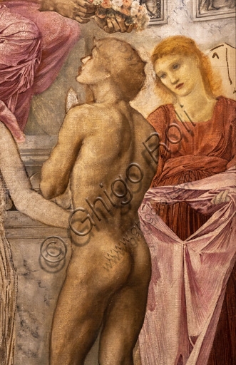 """The temple of Love"", 1872 by Edward Coley Burne - Jones  (1833 - 1898); oil painting on canvas. Detail with a naked figure."