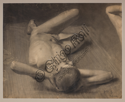 "Assicoop - Unipol Collection: Gaetano Bellei (1857 - 1922), ""Male Nude"", pencil on paper."