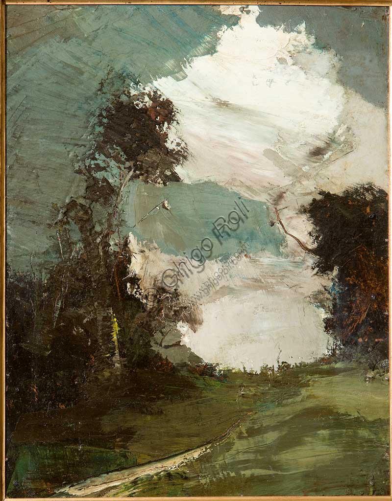 "Collezione Assicoop - Unipol: Ubaldo Magnavacca (1885-1957), ""Nuvoloni temporaleschi"". Olio su cartone intelato, cm. 54 x 41."