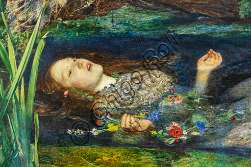 """""""Ophelia"""",  (1851-2)  by John Everett Millais (1829 - 96); oil painting on canvas. Detail."""