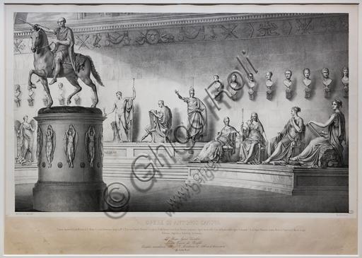 """""""Opere di Antonio Canova: Ritratti in un pantheon"""",  1844, di Michele Fanoli, litografia su carta velina controfondata."""