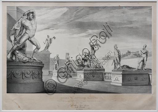 """""""Opere di Antonio Canova: Soggetti eroici in un'arena"""",  1842, di Michele Fanoli, litografia su carta velina controfondata."""
