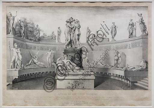 """""""Opere di Antonio Canova: Statue gentili e amorose"""",  1841, di Michele Fanoli, litografia su carta velina controfondata."""