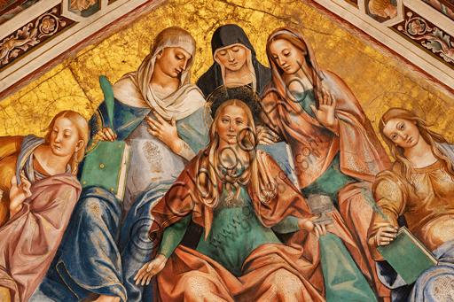 Orvieto, Basilica Cattedrale di Santa Maria Assunta (o Duomo), interno, Cappella Nova o Cappella di S. Brizio, la volta: vela con Coro delle Caste Vergini, di Luca Signorelli 1500 - 1504.