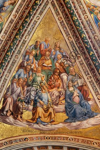 Orvieto, Basilica Cattedrale di Santa Maria Assunta (o Duomo), interno, Cappella Nova o Cappella di S. Brizio, la volta: vela con Coro degli Apostoli, di Luca Signorelli 1500 - 1504.