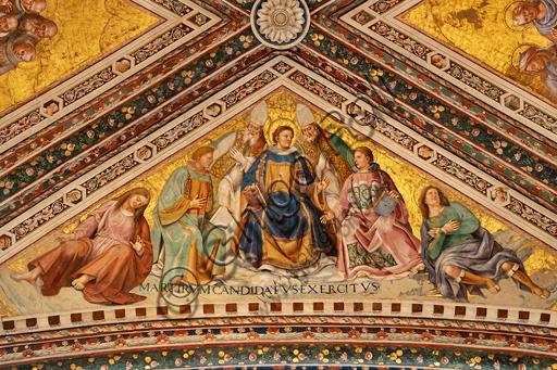Orvieto, Basilica Cattedrale di Santa Maria Assunta (o Duomo), interno, Cappella Nova o Cappella di S. Brizio, la volta: vela con I Martiri, di Luca Signorelli 1500 - 1504.