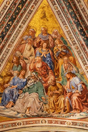 Orvieto, Basilica Cattedrale di Santa Maria Assunta (o Duomo), interno, Cappella Nova o Cappella di S. Brizio, la volta: vela con I Patriarchi, di Luca Signorelli 1500 - 1504.
