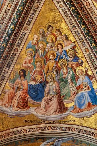 Orvieto, Basilica Cattedrale di Santa Maria Assunta (o Duomo), interno, Cappella Nova o Cappella di S. Brizio, la volta: vela con I Profeti, affresco di Beato Angelico con alcune integrazioni (bordure e testine) di Benozzo Gozzoli, 1447-9.