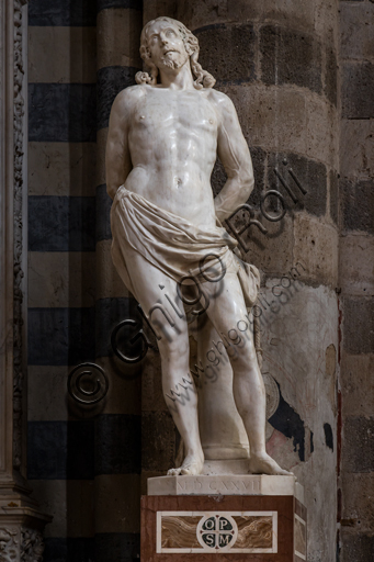 Orvieto, Basilica Cattedrale di Santa Maria Assunta (o Duomo), interno: statua di S. Sebastiano, di inizio Quattrocento.