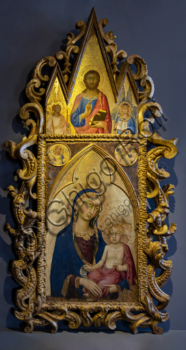 Orvieto, MODO (Museum of the Opera of the  Duomo of Orvieto), central part of a polyptych: Madonna with Child and angels, by Simone Martini, tempera, gold and silver leaf on panel, 1322 - 4.