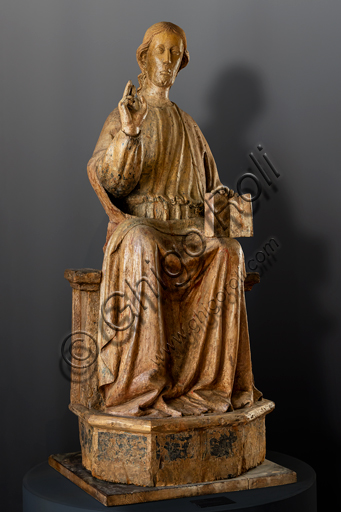 Orvieto, MODO (Museum of the Opera of the  Duomo of Orvieto): Blessing Christ sitting on the throne, by an Orvieto master, around 1330, pear wood and polychromy.