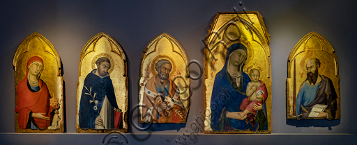 Orvieto, MODO (Museum of the Opera of the  Duomo of Orvieto):  The Virgin with the Child flanked by St. Magdalene, St. Dominic, St. Peter and St. Paul, tempera, gold and silver leaf on panel, by Simone Martini, 1320-1.