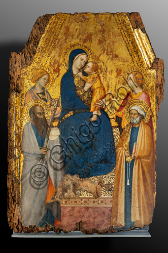 Orvieto, MODO (Museum of the Opera of the  Duomo of Orvieto):  Madonna and Child with Saints Agnes, Peter, Paul and Lucia, by Lippo Vanni, tempera and gold on panel, mid-14th century.