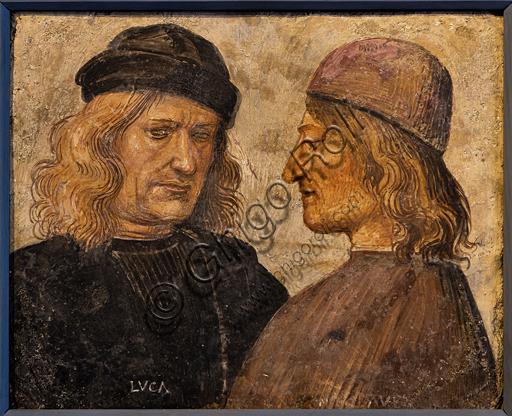 Orvieto, MODO (Museum of the Opera of the  Duomo of Orvieto):  Portrait of Luca Signorelli and the chamberlain Niccolò d'Agnolo Franchi, by Luca Signorelli, 1503, tempera on terracotta.