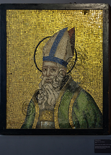 Orvieto, MODO (Museum of the Opera of the  Duomo of Orvieto): St. Ambrose, mosaic with glass and stone tesserae, from the facade of the Cathedral adjacent to the rose, by Piero di Puccio, 1388.