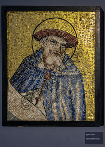 Orvieto, MODO (Museum of the Opera of the  Duomo of Orvieto): St. Jerome, mosaic with glass and stone tesserae, from the facade of the Cathedral adjacent to the rose, by Piero di Puccio, 1388.